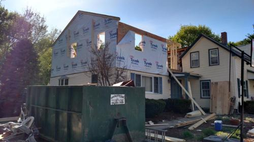 Framing of a second floor addition including 2 bedrooms, bathroom, laundry and office.