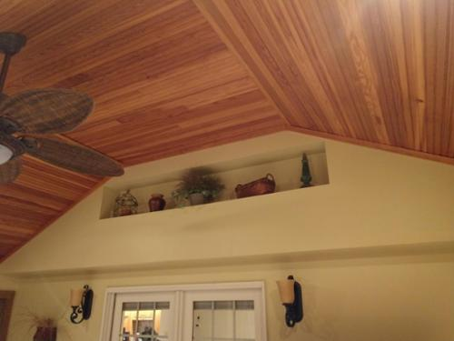 Sun room addition with fir ceiling.